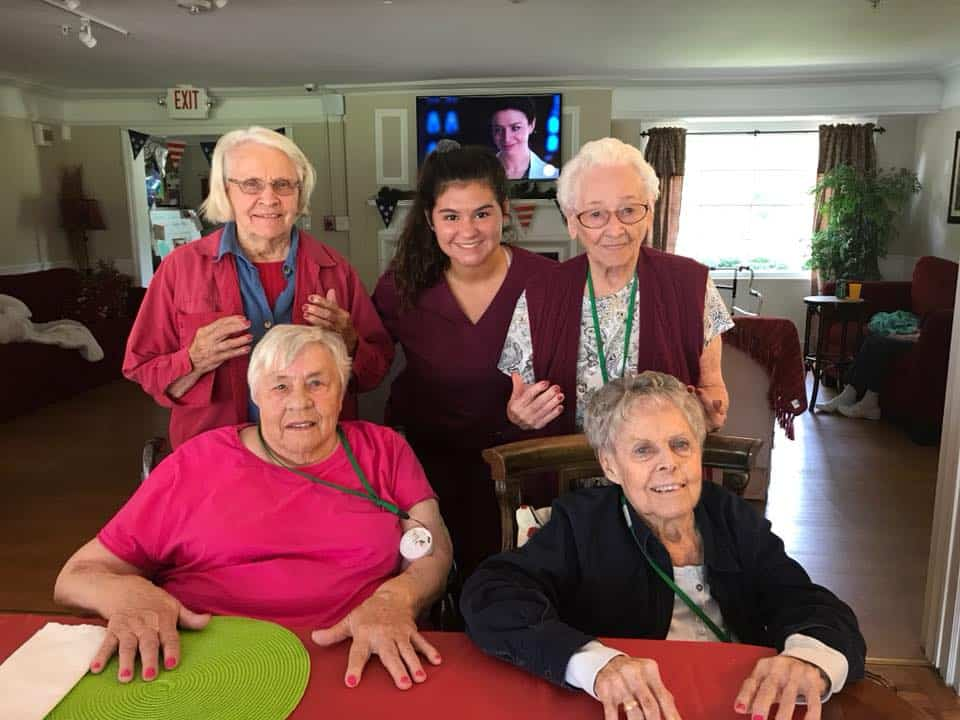 group picture of senior living residents at shepherd
